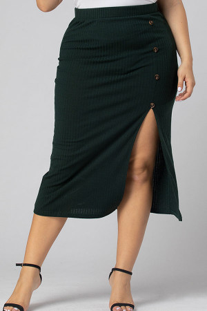 Plus Size Buttoned Slit Skirt