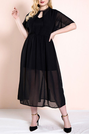 Plus Size Ruffled Chiffon Dress