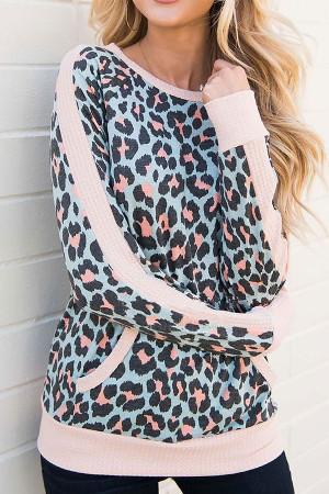 Pocket Leopard Scoop Sweatshirt