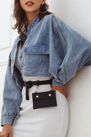 Pockets Cropped Denim Coat