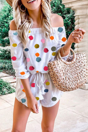Polka Dot Off Shoulder Romper