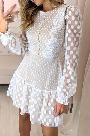 Polka Dot Panel Lace Dress