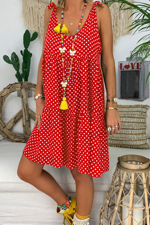 Polka Dot Ruffled Tunic Dress