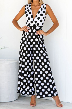 Polka Dot Sleeveless Jumpsuit