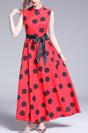Polka Dot Sleeveless Lace-up Dress
