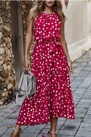 Polka Dot Sleeves Wrap Dress