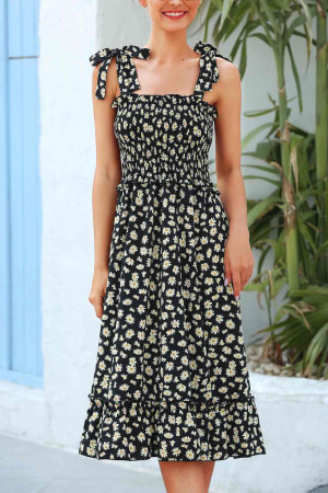 Print Knot Shoulder Ruffle Dress