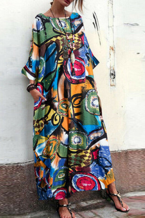 Print Bateau Tunic Dress