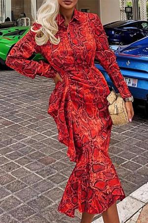 Print Belted Mermaid Dress