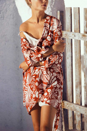 Printed Half Sleeves Sashes Dress