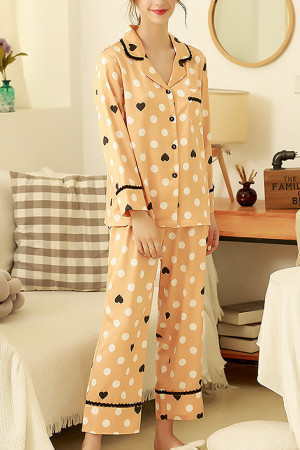 Print Lapel Pajama Pants Set
