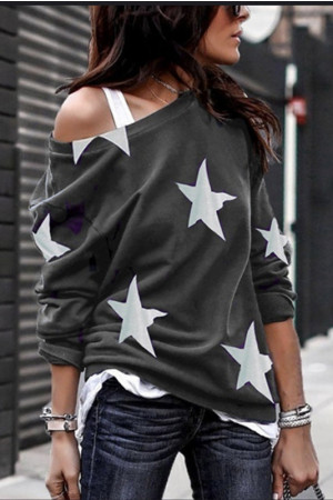 Print One-Shoulder Sweatshirt