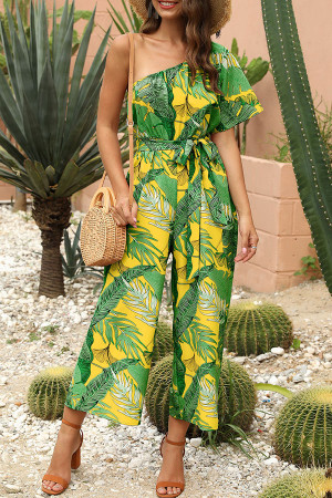 Print One Shoulder Jumpsuit
