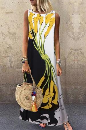Print Sleeveless Tunic Dress