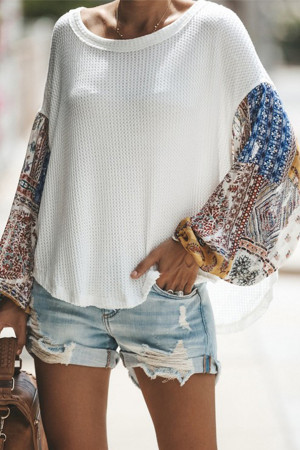 Print Sleeves Scoop T-shirt