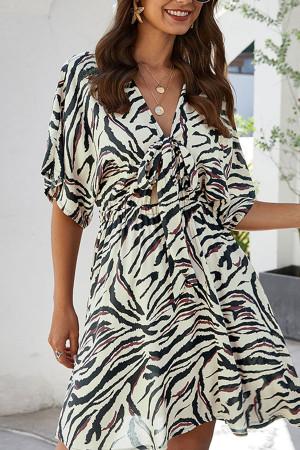 Print Tie Front V-Neck Dress