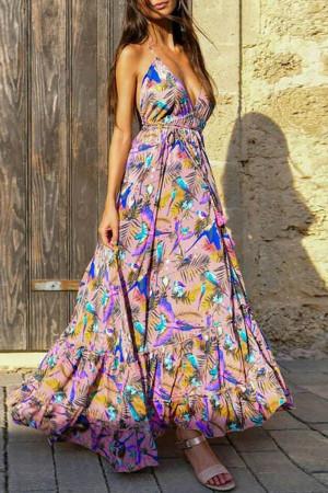 Print V-Neck Open Back Dress