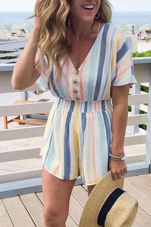 Print V-neck Striped Button Romper