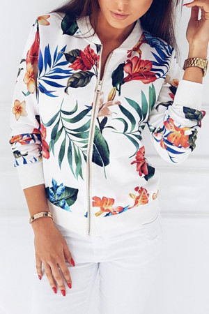 Printed Casual Baseball Jacket