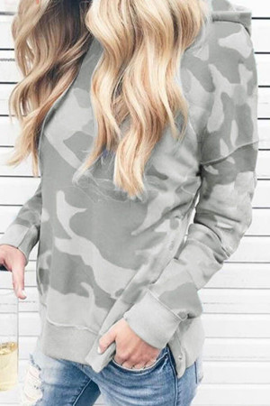 Pullover Camouflage Print Hoodie