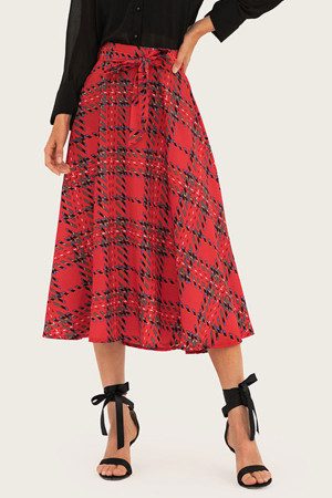 Red Plaid Lace-up Skirt