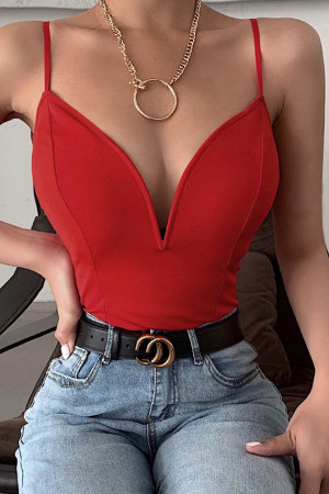 Red Sleeveless V-neck Bodysuit