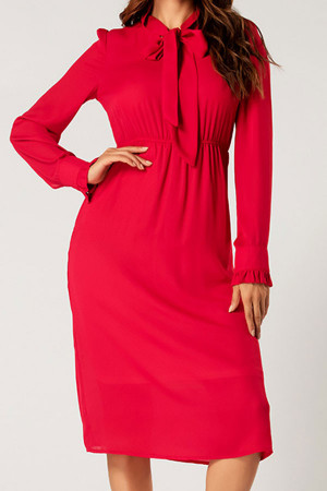 Red Tie Neck Dress