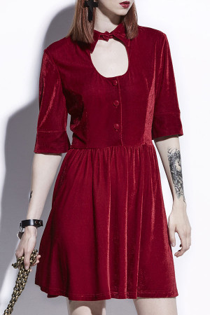 Red Velvet Short Dress