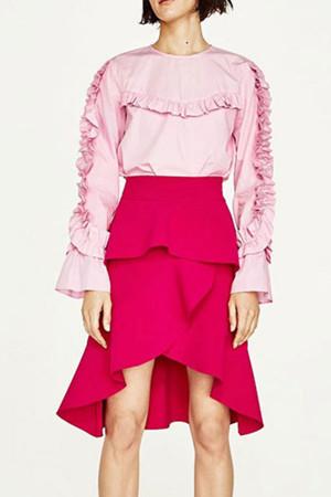Ruffle Asymmetric Hem Skirt