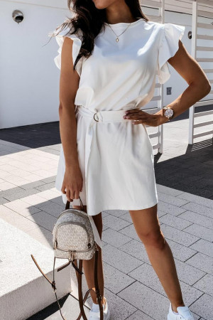Ruffle Sleeve Scoop Short Dress