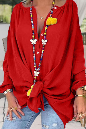 Ruffled Solid V-neck Blouse