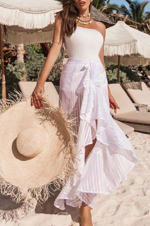 Ruffles Lace-up Bandeau Dress