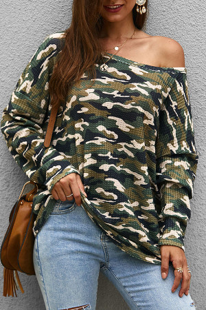Scoop Camouflage Knit Sweatshirt