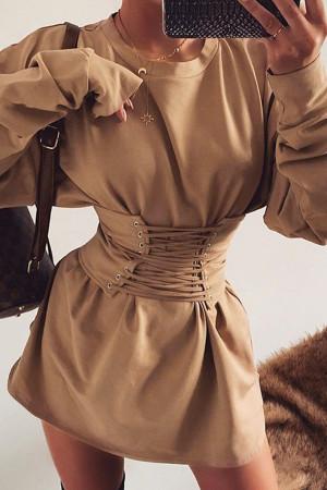 Scoop Long Sleeves Wrap Dress