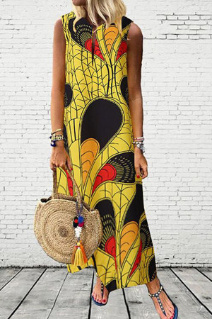 Scoop Print Sleeveless Dress