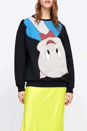Scoop Pullover Print Sweatshirt