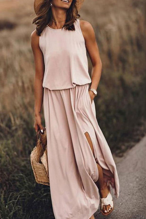Scoop Sleeveless Slit Dress
