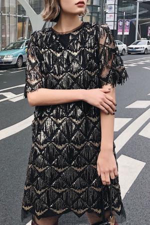 Scoop Tassel Sequins Dress