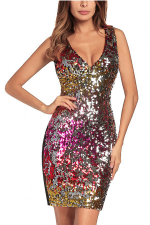Sequins Color Block Prom Dress