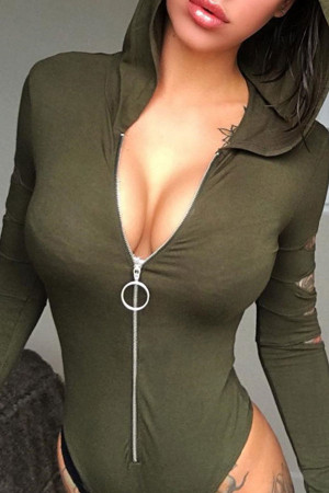 Sexy Hooded Zipper Bodysuit