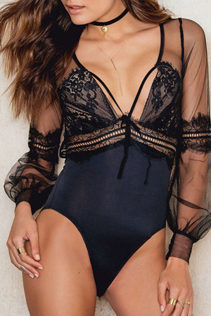 Sexy Lace Panel Mesh Bodysuit