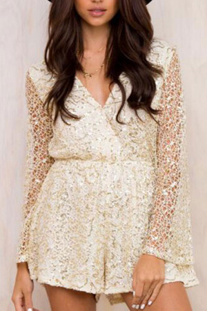 Sexy Sequins Lace Romper