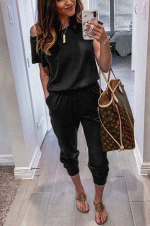 Short Sleeves Pockets Jumpsuit