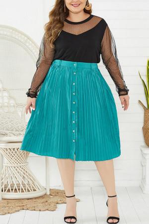 Single Breasted Pleated Skirt