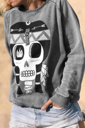 Skull Printed Pullover Sweatshirt