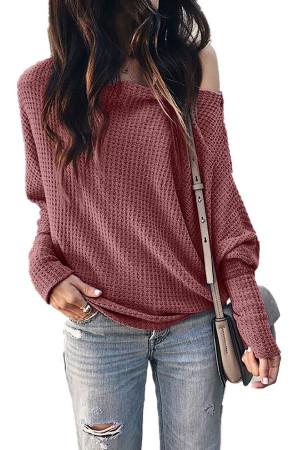 Slant Collar Solid Sweater