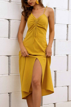 Sleeveless Shoulder Knot Split Dress