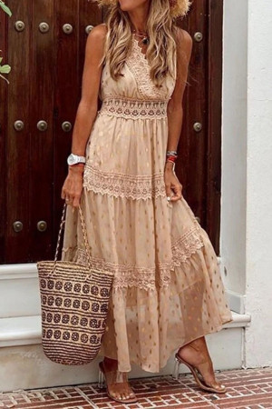 Sleeveless Chiffon Vacation Dress