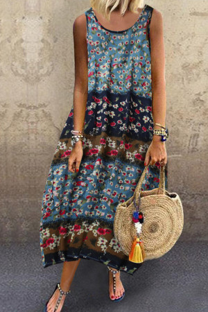 Sleeveless Scoop Floral Dress