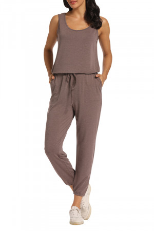 Sleeveless Tapered Leg Jumpsuit